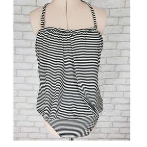 9732e697a2 Garnet Hill One Piece Swimsuit Slimming Stripes 8